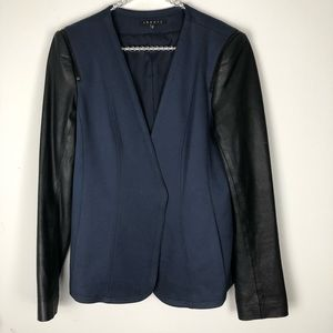 THEORY pryor yaisa ponti leather sleeve blazer